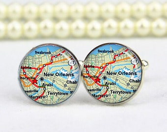 New Orleans map cufflinks, custom any city of maps, any text, photo, personalized cufflinks, custom wedding cufflinks, groom cufflinks, gift