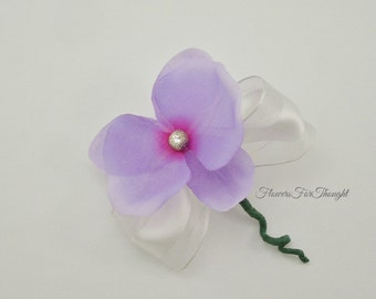 Purple Orchid Boutonniere, Grooms Buttonhole Flower, Groomsmen Gift, Lapel Bloom with Swarovski Crystal, Made to order, FFT original design