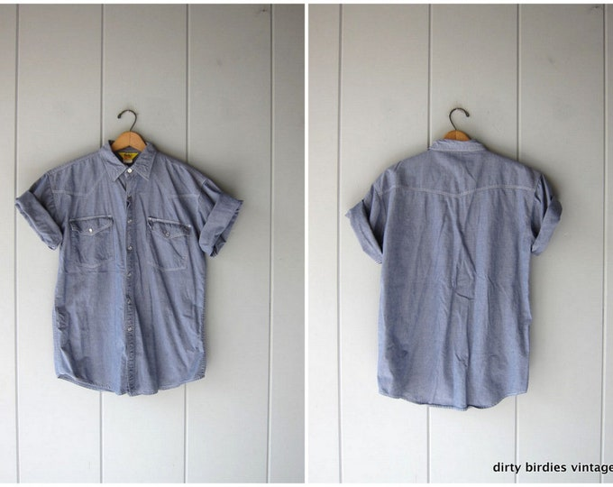Vintage 90s Pearl Snap Work Shirt   Short Sleeve Cotton Denim Shirt   Hipster Engineer Mechanics Shirt Country Western Top Mens Large