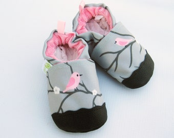 Eco-Canvas Vegan Pink Starling / non-slip soft sole baby shoes / made to order / Babies Toddlers Preschool