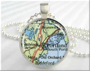 Portland Map Pendant, Portland Maine Map Necklace, Resin Picture Jewelry, Round Silver, Gift Under 20 (433RS)