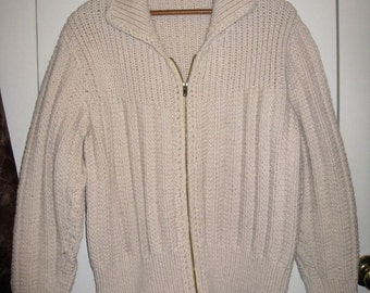 Vintage Fisherman Zipper Irish Cardigan Sweater looks size Medium