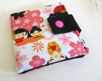 Floral Pink Kawaii Wallet, Cotton Print Card Case, Store Card Wallet