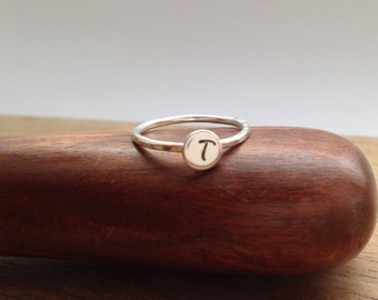Stacking Initial Ring, Silver Ring, Initial Jewelry, Dainty Ring, Stackable Ring, Minimalist Ring, Birthday Gift,