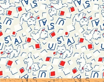 Storybook Americana - USA Cats in White - Cotton Kitty Cat Quilt Fabric - by Whistler Studios for Windham Fabrics - 42347-2 (W4230)