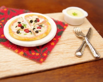Pizza Slices and Soup Set -1:12 dollhouse miniature savoury food