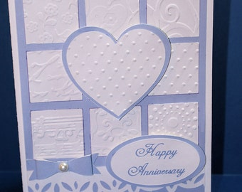 Embossed Quilt Block Anniversary Card-Anniversary Card-Embossed Card-Greeting Card-Handmade Card-Dimensional Card-Love
