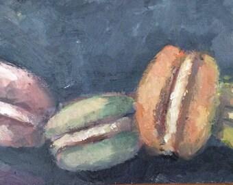 """Macaroons cookies Painting Original Oil  Painting 4 x 6"""""""