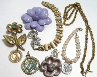 Lot of Vintage Jewelry for Repurposing - Lot III - Earrings Bracelets and other Bits and Bobs