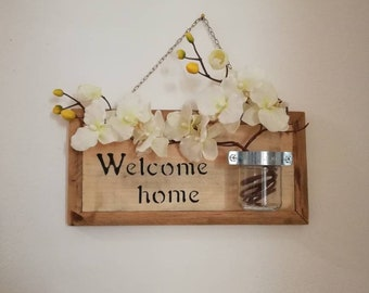 Welcome Home Sign in recycled wood