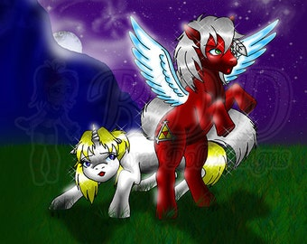 Unicorn and Pegasus Pony Print 8x8 Art #538 Unity Protects Rosie