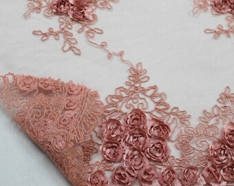 Emily CORAL Floral Matte Corded Embroidery on Mesh Scalloped Edge Lace Fabric by the Yard - Style 3001