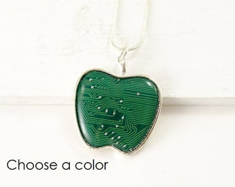 Circuit Board Apple Necklace, Technology Teacher Gift, Upcycled Computer Jewelry, Computer Teacher, Computer Programmer, Geek Gift for Her