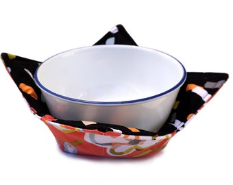 Microwave Bowl Cozy - Quilted Mod Flowers and Matching Rectangles Fabric With Two Layers of Batting - Reversible