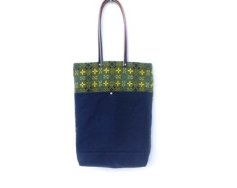 Welsh Tapestry Bag Green Navy Waxed Canvas