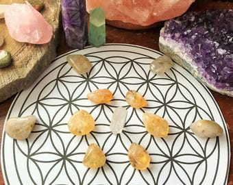 MANIFESTATION & ABUNDANCE GRID Pack * 6 Citrine *6 Golden Rutilated Quartz * Generator Crystal*Manifestation * Abundance * Wealth * Creation