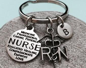 Nurse keychain, nurse charm, RN keychain, personalized keychain, initial keychain, customized keychain, monogram