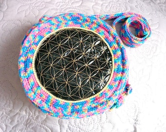 Rainbowy Flower Of Life Embroidered Crochet Bag