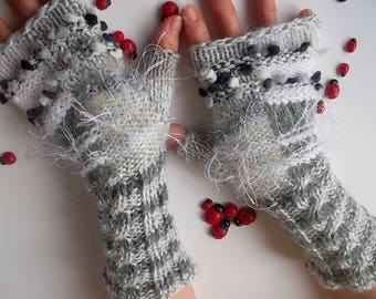 Women Size M Gloves Ready To Ship Fingerless Mittens Gray Hand Knitted Romantic Warm Accessories Arm Wrist Warmers Winter Wool Mohair 782