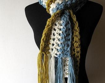UniScarf Stripe Fringe Scarf in Lemongrass Green White Blue