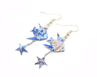 Earrings fish and starfish blue and white Origami Japanese paper