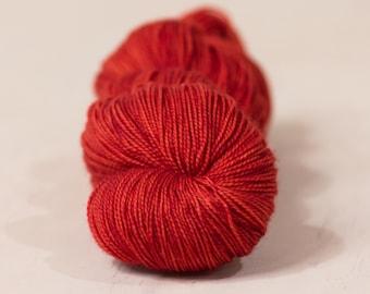 Blood Orange // 4 ply yarn, fingering yarn, sock yarn, super wash yarn, hand dyed yarn, indie dyed yarn, red yarn, tonal yarn