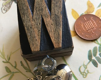 Vintage Letterpress Key Ring with Heart and Teddy Bear Charms (Letter W)