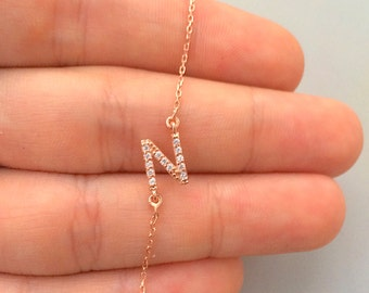 Gold Sideways Initial Necklace with CZ stone -Personalized Jewelry - Letter NEcklace - Personalized Bridesmaids Gifts -Personalized Necklace