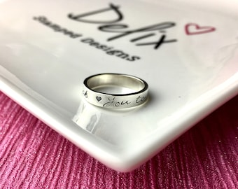 Hand stamped sterling silver band ring, personalised ring, mummy ring, daddy ring, name ring