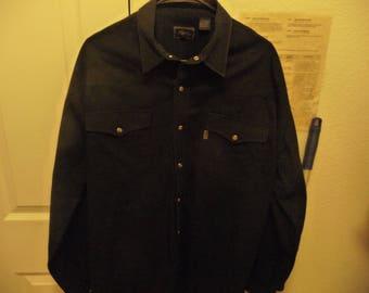 Vintage Roper Men's XL L/S Black Denium Western Pearl Snap Shirt