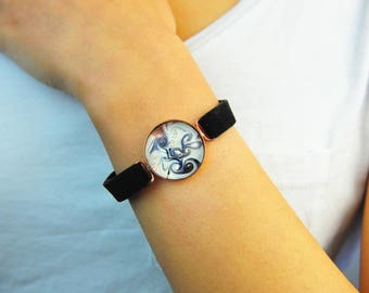 Handmade Unique White Black Murano Glass Jewelry Bracelet, Gift for Women, Valentines Day Gift, Crystal Charm Bracelet Pendant, Vintage