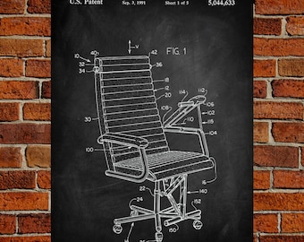 Chair Art Print, Chair Patent, Chair Vintage, Chair Blueprint, Chair Print, Chair Prints, Chair Wall Art, Chair Decor