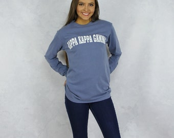 Kappa Kappa Gamma Comfort Colors Long Sleeve T-Shirt in Denim Blue