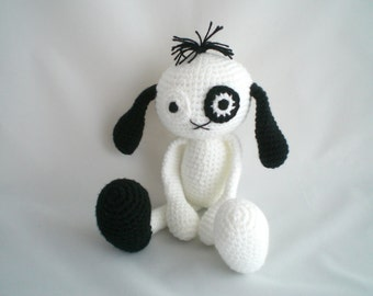 Crochet Puppy Dog / Amigurumi Puppy Dog / Crochet Black and White Dog / Puppy Dog With Patch / Puppy Dog Soft Toy / Puppy Dog Plushie.