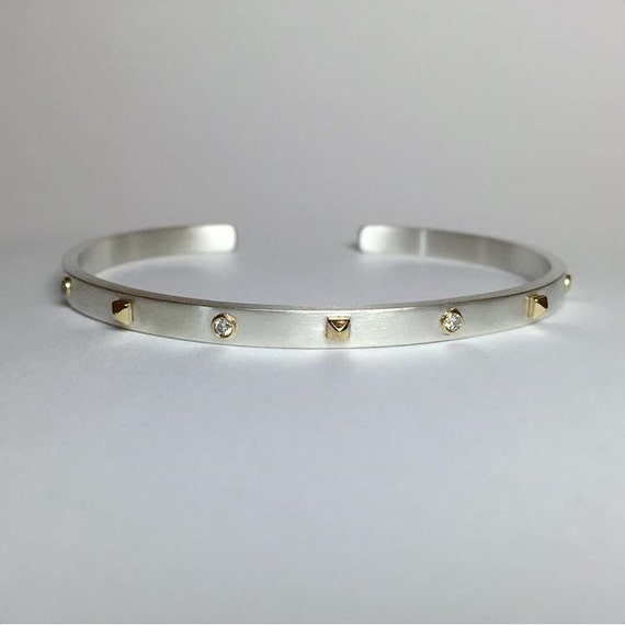 Diamond Stud Pyramid Cuff Bracelet