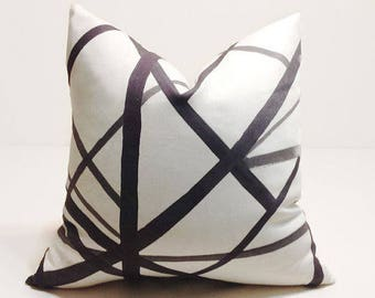 Kelly Wearstler Channels Pillow in Ebony Ivory, Decorative Pillow Cover, Black Pillow, Home Decor, Luxury Pillow