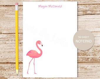 personalized flamingo notepad . flamingo note pad . personalized stationery . stationary . tropical bird notepad