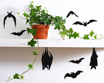 Black Bats Halloween Decor, Vinyl Bat Decals, bat decorations, creepy halloween decor, Halloween props, Halloween pumpkin decals