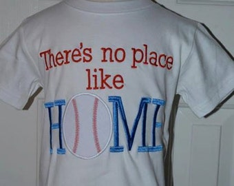 Personalized There's No Place Like Home Baseball  Applique Shirt or Bodysuit Girl