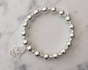 Sterling Silver chunky stretch bracelet with Hamsa Hand charm