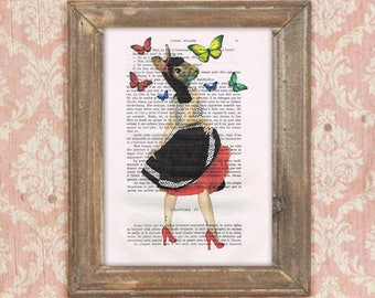 Rabbit rock and roll, vintage rabbit, butterflies, rabbit illustration, bunny art, rabbit poster, vintagey print, human animal print