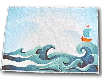 Baby Quilt, Baby blanket, Ocean Nursery, Boat Nursery, Sea Nursery, Beach Nursery, Ocean Baby quilt, Ocean baby blanket, Boats baby quilt