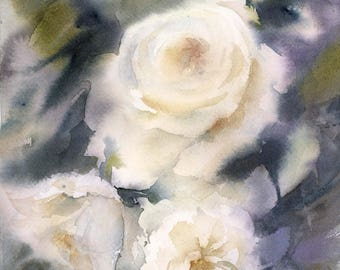 White Roses Original Watercolor Painting, flowers painting, modern botanical floral painting art