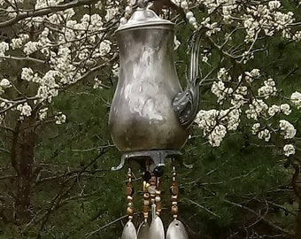 Silverplate teapot wind chime with lid