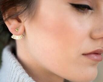 Ear Jackets | Gold Statement Earrings | Triangle Earrings | Earring Jackets Gold or Silver