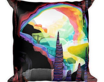 Rainbow Cave Square Accent Pillow - Throw Pillow, Psychedelic Home Decor, Art Pillow
