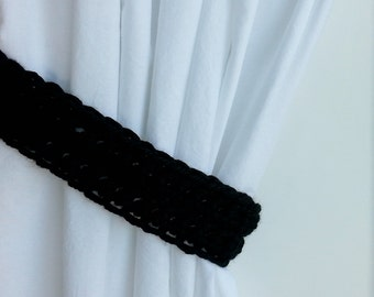 One Pair of Black Curtain Tie Backs, Curtain Tiebacks Solid Basic Black Holdbacks, Drapery Drapes Holders, Soft Crochet Knit, Customizable