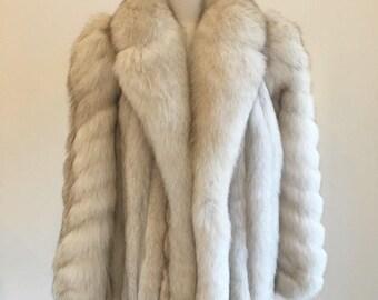 VTG Fox fur coat 1980s SILVER FOX fur m - l