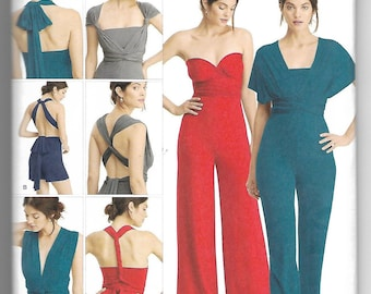 8095 Simplicity Knit Wrap and Tie Jumpsuit Sewing Pattern Sizes 4-26 Wide Leg in Two Lengths Slim Leg