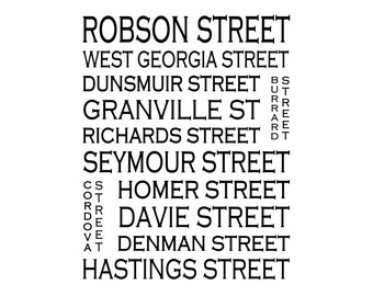Vancouver B.C (Downtown) . - Love This Place Street Name Art Print on Paper - Customize With Your Street - Home Decor TheJitterbugShop